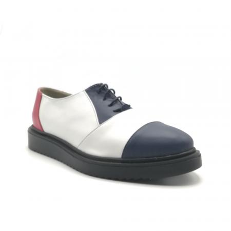 Pantofi Oxford alb cu albastru din piele naturala1