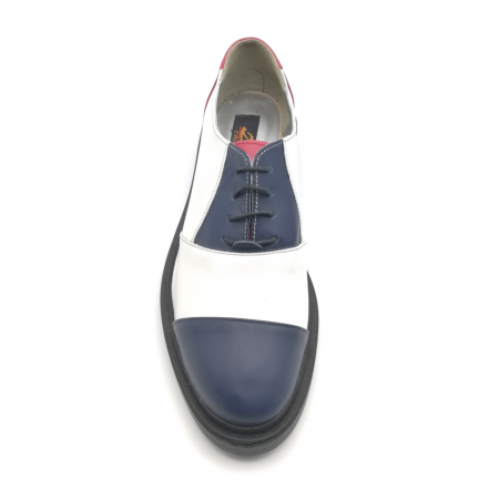 Pantofi Oxford alb cu albastru din piele naturala3