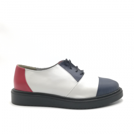 Pantofi Oxford alb cu albastru din piele naturala0