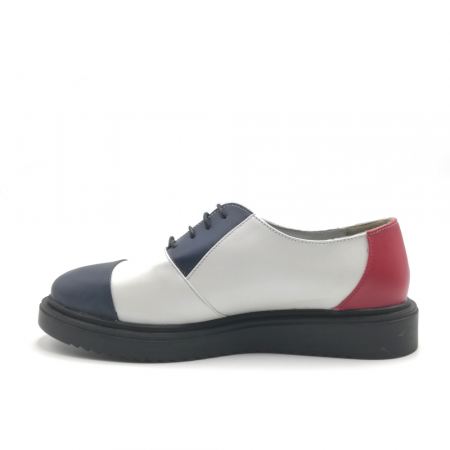 Pantofi Oxford alb cu albastru din piele naturala2