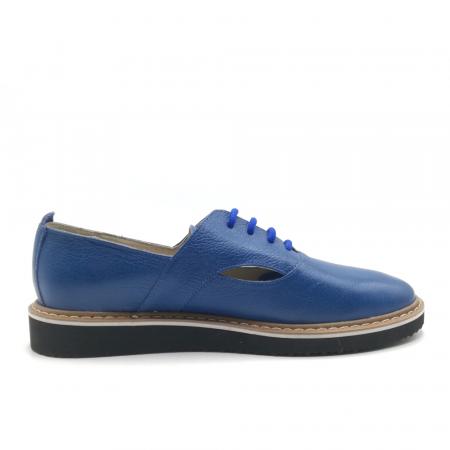 Pantofi cu talpa joasa albastri din piele naturala2