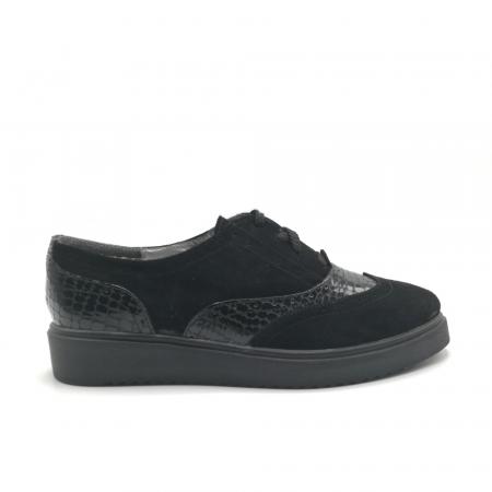 Pantofi Oxford negri din piele naturala cu detalii perforate0
