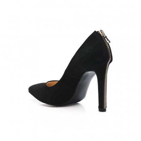 Pantofi stiletto din piele intoarsa negri cu fermoar decorativ pe toc CA38, 394