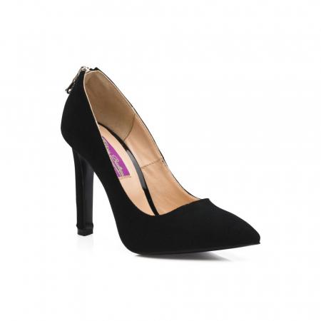 Pantofi stiletto din piele intoarsa negri cu fermoar decorativ pe toc CA38, 393