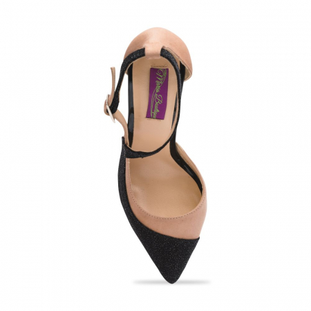 Pantofi stiletto din piele intoarsa bej si negru CA324