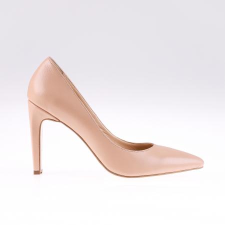 Pantofi stiletto din piele naturala Nude Box0