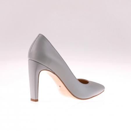 Pantofi stiletto din piele naturala Gri, 38 [1]