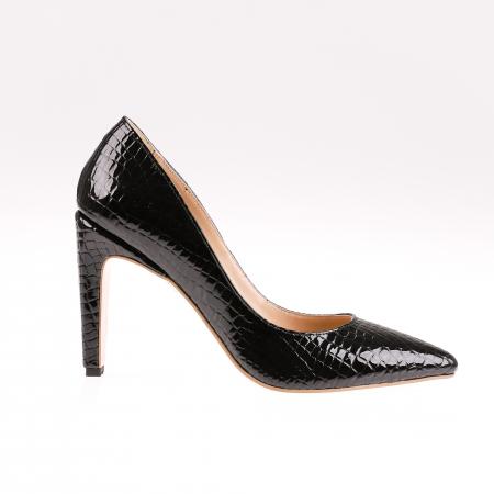 Pantofi stiletto din piele naturala lacuita Croco Negru0