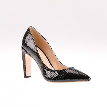 Pantofi stiletto din piele naturala lacuita Croco Negru2