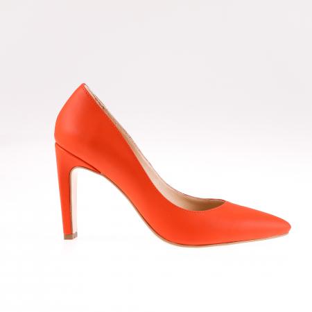 Pantofi stiletto din piele naturala Orange Box0