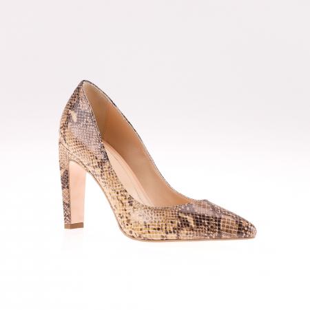 Pantofi stiletto din piele naturala Brown Snake [1]