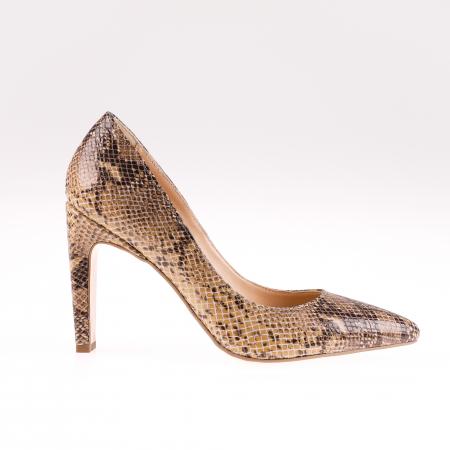 Pantofi stiletto din piele naturala Brown Snake [0]