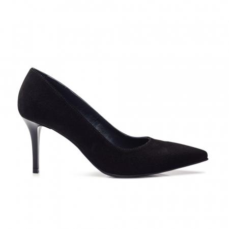Pantofi stiletto negri cu toc mediu din piele naturala intoarsa, 401
