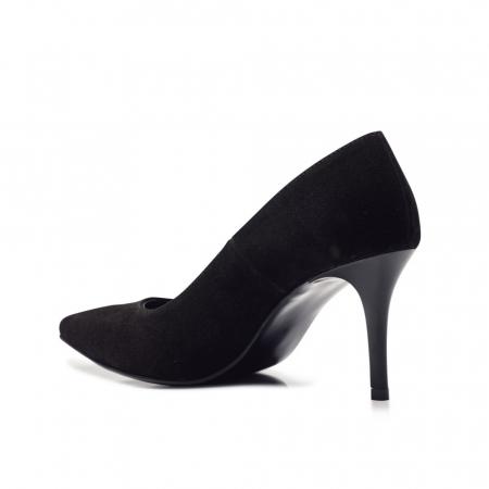 Pantofi stiletto negri cu toc mediu din piele naturala intoarsa, 403