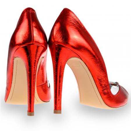 Pantofi stiletto Mihai Albu din piele rosie Cherry Bomb [2]