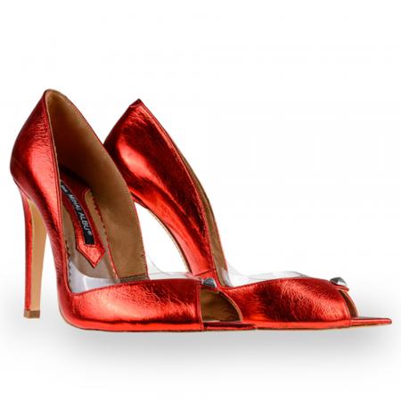 Pantofi stiletto Mihai Albu din piele rosie Cherry Bomb [1]
