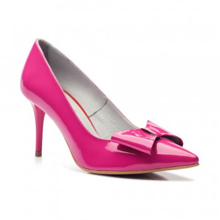 Pantofi stiletto fuchsia cu toc mediu din piele naturala lacuita CA23