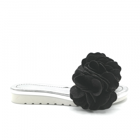 Papuci dama din piele naturala cu flori supradimensionate