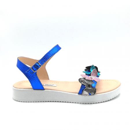 Sandale dama cu platforma si flori din piele naturala Blue Metal0