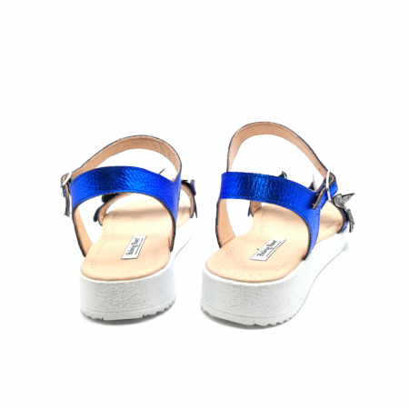 Sandale dama cu platforma si flori din piele naturala Blue Metal3