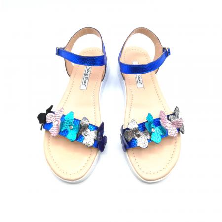 Sandale dama cu platforma si flori din piele naturala Blue Metal2