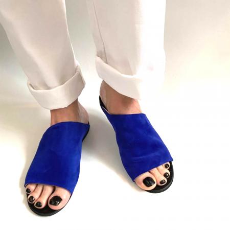 Papuci dama din piele intoarsa albastra Lexi [0]