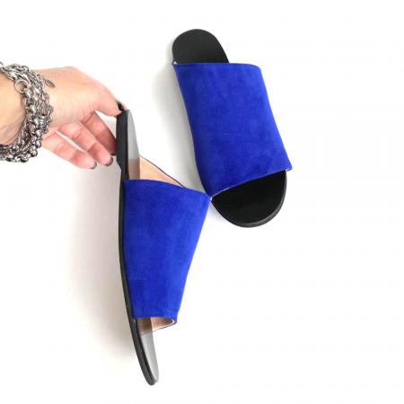 Papuci dama din piele intoarsa albastra Lexi [1]