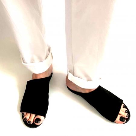 Papuci dama din piele intoarsa neagra Lexi [0]