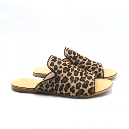 Papuci dama din piele de ponei Araya Animal Print bej [2]