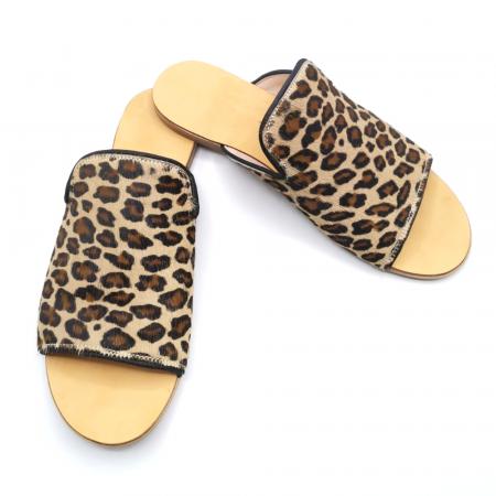Papuci dama din piele de ponei Araya Animal Print bej [4]