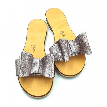 Papuci de dama din piele cu funda dubla Copper3