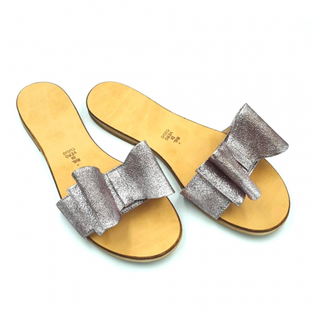 Papuci de dama din piele cu funda dubla Copper0