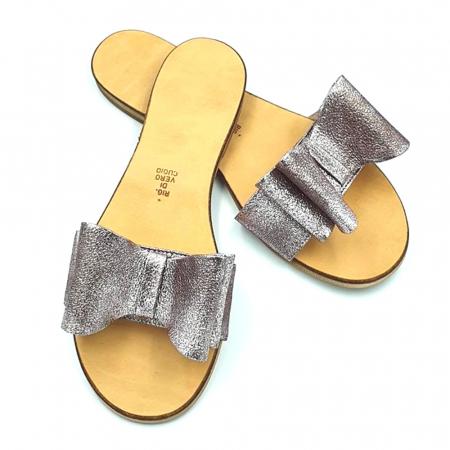 Papuci de dama din piele cu funda dubla Copper2