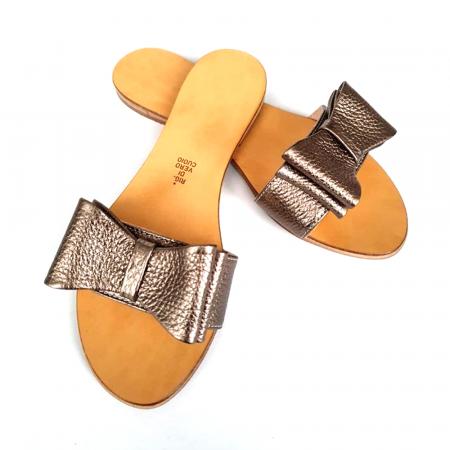 Papuci de dama din piele cu funda dubla Bronze0