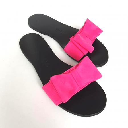 Papuci de dama din piele cu funda dubla Fucsia Miss1