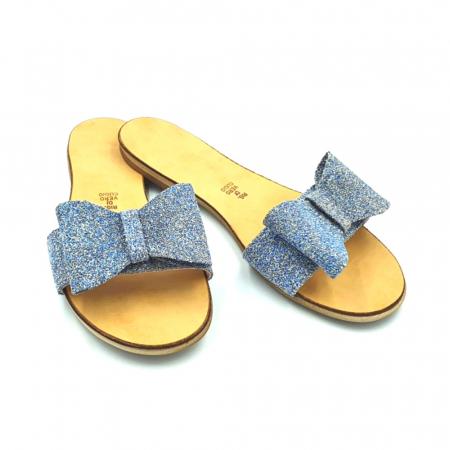 Papuci de dama din piele cu funda dubla Blue Glitter2