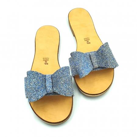 Papuci de dama din piele cu funda dubla Blue Glitter1