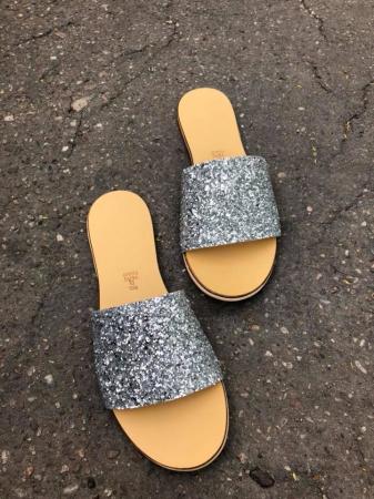 Papuci de dama din piele Elisa Glitter2