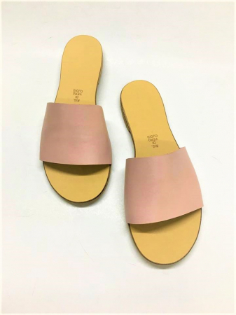 Papuci de dama din piele Elisa Nude0