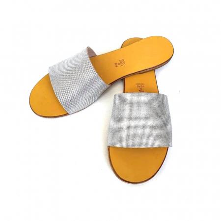 Papuci de dama din piele Elisa Silver Texture, 36 [2]