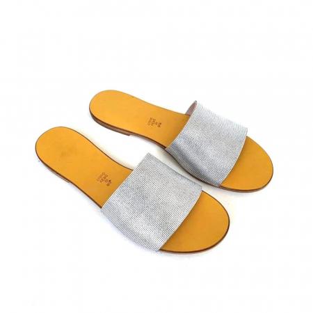 Papuci de dama din piele Elisa Silver Texture, 36 [0]
