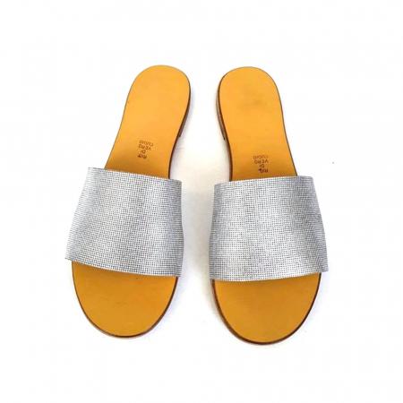 Papuci de dama din piele Elisa Silver Texture, 36 [1]