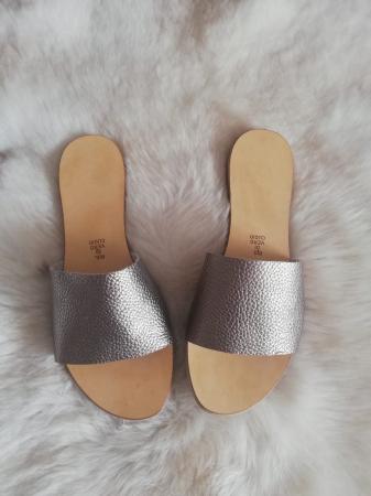 Papuci de dama din piele Elisa Gold3