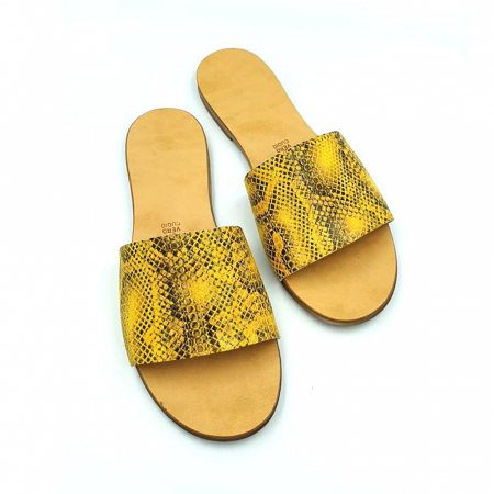 Papuci de dama din piele Elisa Yellow Snake0