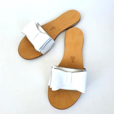 Papuci de dama din piele cu funda dubla White Miss2