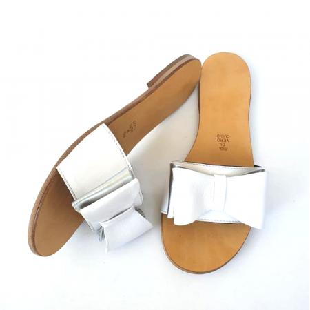 Papuci de dama din piele cu funda dubla White Miss1
