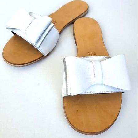 Papuci de dama din piele cu funda dubla White Miss3