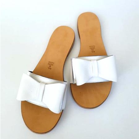 Papuci de dama din piele cu funda dubla White Miss0