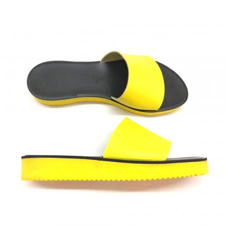 Papuci de dama din piele Elisa Yellow cu platforma0