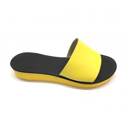 Papuci de dama din piele Elisa Yellow cu platforma2